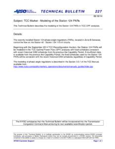 TECHNICAL BULLETIN[removed]Subject: TCC Market - Modeling of the Station 124 PARs
