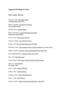 Suggested Readings in Poetry  Book Length Collections Berryman, John: The Dream Songs Collected Poems[removed]