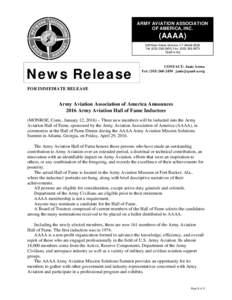 ARMY AVIATION ASSOCIATION OF AMERICA, INC. (AAAAMain Street, Monroe, CT