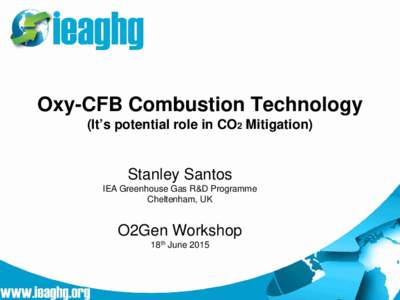 Oxy-CFB Combustion Technology (It's potential role in CO2 Mitigation) Stanley Santos IEA Greenhouse Gas R&D Programme Cheltenham, UK