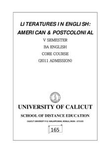 LITERATURES IN ENGLISH: AMERICAN & POSTCOLONIAL V SEMESTER BA ENGLISH CORE COURSE[removed]ADMISSION)