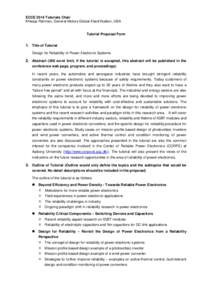 ECCE 2014 Tutorial Proposal on Design for Reliability of Power Electronic Systems