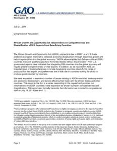 GAO-14-722R, African Growth and Opportunity Act: Observations on Competitiveness and Diversification of U.S. Imports from Beneficiary Countries