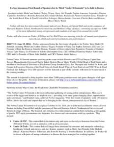 Forbes' Under 30 Summit Boston Speaker Lineup JUNE Release 6 15 FINAL FINAL