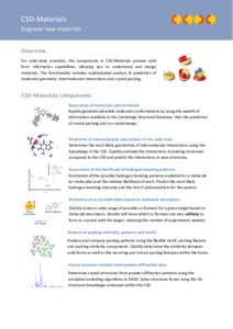 CSD-Materials Engineer new materials Overview For solid-state scientists, the components in CSD-Materials provide solid form informatics capabilities, allowing you to understand and design