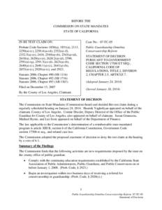 BEFORE THE COMMISSION ON STATE MANDATES STATE OF CALIFORNIA IN RE TEST CLAIM ON:  Case No.: 07-TC-05