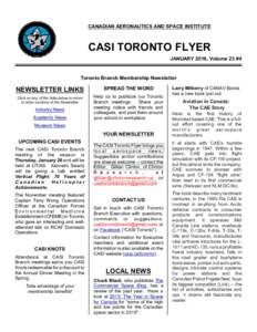 CANADIAN AERONAUTICS AND SPACE INSTITUTE  CASI TORONTO FLYER JANUARY 2016, Volume 23 #4  Toronto Branch Membership Newsletter