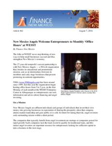 Article 462  August 7, 2016 New Mexico Angels Welcome Entrepreneurs to Monthly 'Office Hours' at WESST