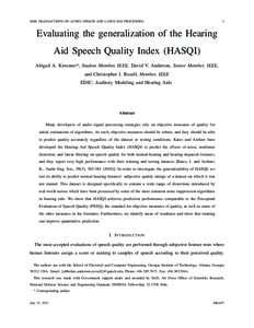 IEEE TRANSACTIONS ON AUDIO, SPEECH AND LANGUAGE PROCESSING  1 Evaluating the generalization of the Hearing Aid Speech Quality Index (HASQI)
