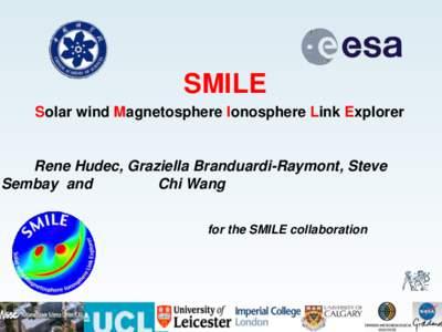 SMILE Solar wind Magnetosphere Ionosphere Link Explorer Rene Hudec, Graziella Branduardi-Raymont, Steve Sembay and Chi Wang
