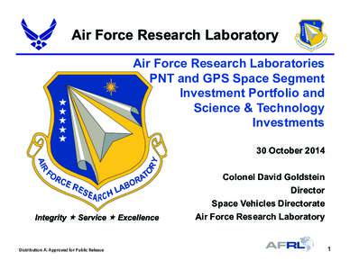 Air Force Research Laboratory Air Force Research Laboratories PNT and GPS Space Segment Investment Portfolio and Science & Technology Investments
