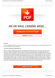 sop for m4a1 carbines weekly maintenance Sergeant and platoon sop essay (16 personnel) for the m4 or m4a1 carbine's weekly maintenance he instructed you to date the sop with today's date.