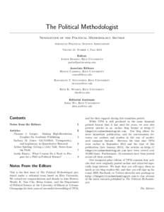The Political Methodologist Newsletter of the Political Methodology Section American Political Science Association Volume 21, Number 1, FallEditor: