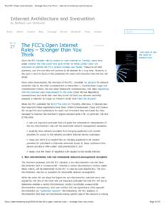 The FCC's Open Internet Rules – Stronger than You Think – Internet Architecture and Innovation