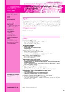 CNS PAR SATELLITE Communication, Navigation & Surveillance par Satellite réf. GNSS-FUTURE Code OACI 179 ENAC - SINA