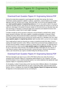 Get Instant Access to PDF Read Books Exam Question Papers N1 Engineering Science at our eBook Document Library  Exam Question Papers N1 Engineering Science PDF Download Exam Question Papers N1 Engineering Science.PDF Get