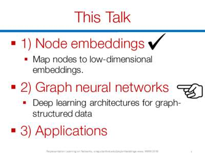 This Talk § 1) Node embeddings § Map nodes to low-dimensional embeddings.  § 2) Graph neural networks