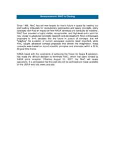 Microsoft Word - Announcement-NIAC is Closing1.doc