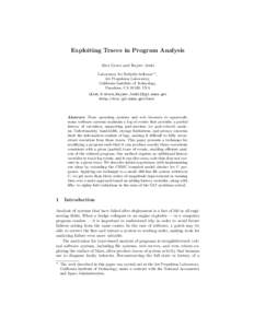 Exploiting Traces in Program Analysis Alex Groce and Rajeev Joshi Laboratory for Reliable Software?? , Jet Propulsion Laboratory, California Institute of Technology, Pasadena, CA 91109, USA
