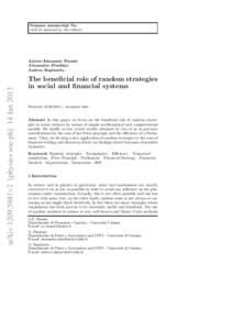 Noname manuscript No. (will be inserted by the editor) arXiv:1209.5881v2 [physics.soc-ph] 14 JanAlessio Emanuele Biondo