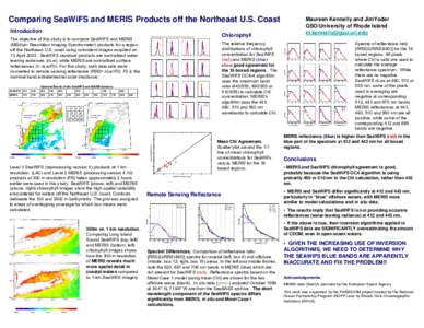 Comparing SeaWiFS and MERIS Products off the Northeast U.S. Coast Introduction Chlorophyll  The objective of this study is to compare SeaWiFS and MERIS