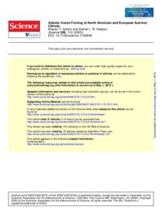 Atlantic Ocean Forcing of North American and European Summer Climate Rowan T. Sutton and Daniel L. R. Hodson Science 309, ); DOI: science