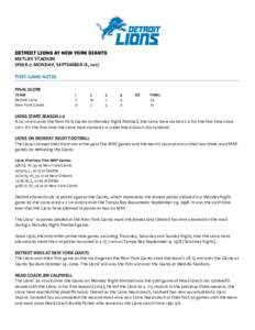 DETROIT LIONS AT NEW YORK GIANTS METLIFE STADIUM WEEK 2: MONDAY, SEPTEMBER 18, 2017 POST-GAME NOTES FINAL SCORE