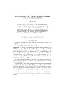 NONCOHERENCE OF A CAUSAL WIENER ALGEBRA USED IN CONTROL THEORY AMOL SASANE Abstract. Let C+ := {s ∈ C | Re(s) ≥ 0} and let A denote the ring ) (