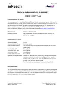 Page 1 of 2  2016_1 CRITICAL INFORMATION SUMMARY INREACH SAFETY PLAN