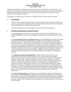 THE GAP, INC. CORPORATE GOVERNANCE GUIDELINES (As of February 4, 2018) The board has developed corporate governance practices to help fulfill its responsibility to the shareholders. These practices are memorialized in th