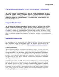 LIGOM1400285   AntiHarassmentGuidelinesoftheLIGOScientificCollaboration