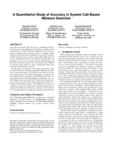 A Quantitative Study of Accuracy in System Call-Based Malware Detection Davide Canali Andrea Lanzi