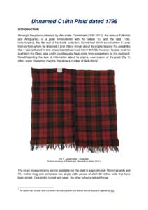 Unnamed C18th Plaid dated 1796 INTRODUCTION Amongst the pieces collected by Alexander Carmichael), the famous Folklorist and Antiquarian, is a plaid embroidered with the initials 'IC' and the dateUn