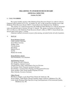 OWRB Board Meeting Minutes October 20, 2015