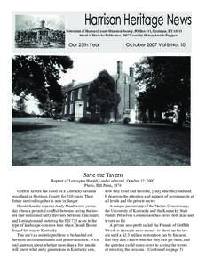 Harrison Heritage News  Newsletter of Harrison County Historical Society, PO Box 411, Cynthiana, KYAward of Merit for Publication, 2007 Kentucky History Awards Program  Our 25th Year