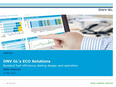 MARITIME  DNV GL's ECO Solutions Boosted fuel efficiency during design and operation Petter Andersen 21 May 2015