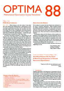 OPTIMA 88 Mathematical Optimization Society Newsletter Philippe L. Toint  MOS Chair's Column