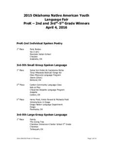 2015 Oklahoma Native American Youth Language Fair PreK – 2nd and 3rdth-5th Grade Winners April 4, 2016  PreK-2nd Individual Spoken Poetry