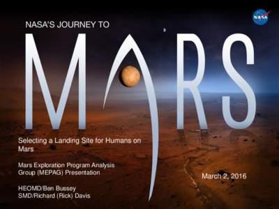 Selecting a Landing Site for Humans on Mars Mars Exploration Program Analysis Group (MEPAG) Presentation  HEOMD/Ben Bussey