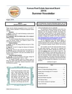 Kansas Real Estate Appraisal BoardSummer Newsletter  August, 2016