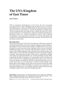 The UN's Kingdom of East Timor 27  The UN's Kingdom of East Timor ○