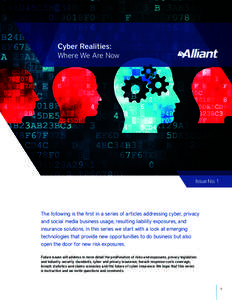 Cyber Realities: Where We Are Now Issue No. 1  The following is the first in a series of articles addressing cyber, privacy