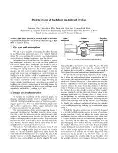 Poster: Design of Backdoor on Android Devices Junsung Cho, Geumhwan Cho, Sangwon Hyun and Hyoungshick Kim Department of Computer Science and Engineering, Sungkyunkwan University, Republic of Korea Email: {js.cho, geumhwa