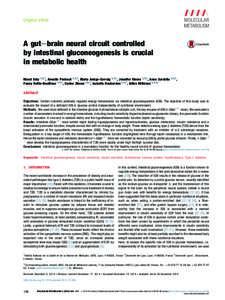 Original article  A gutebrain neural circuit controlled by intestinal gluconeogenesis is crucial in metabolic health Maud Soty 1, 2, 3, Armelle Penhoat 1, 2, 3, Marta Amigo-Correig 1, 2, 3, Jennifer Vinera 1, 2, 3, Anne