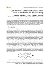 LIPIcs  Leibniz International Proceedings in Informatics Continuous-Time Stochastic Games with Time-Bounded Reachability