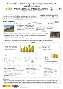 Serum IGF-1, leptin and growth in early and traditionally weaned beef calves Blanco M1., Villalba, D2., Sauerwein, H3., Casasús I1. 1  Centro de Investigación y Tecnología Agroalimentaria, Zaragoza, Spain