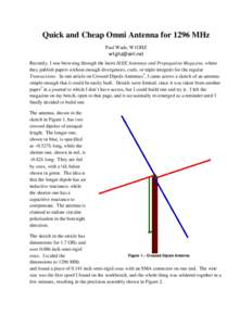 Quick and Cheap Omni Antenna for 1296 MHz Paul Wade, W1GHZ  Recently, I was browsing through the latest IEEE Antennas and Propagation Magazine, where they publish papers without enough divergences, curls, o