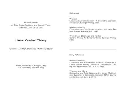 References  Summer School on Time Delay Equations and Control Theory Dobbiaco, June 25–