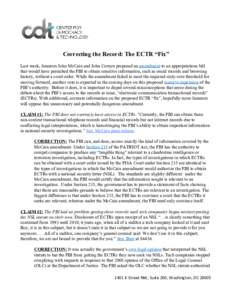 "Correcting the Record: The ECTR ""Fix"""