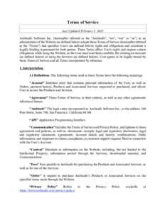 Terms of Service Last Updated February 5, 2018 Ambisafe Software Inc. (hereinafter referred as the